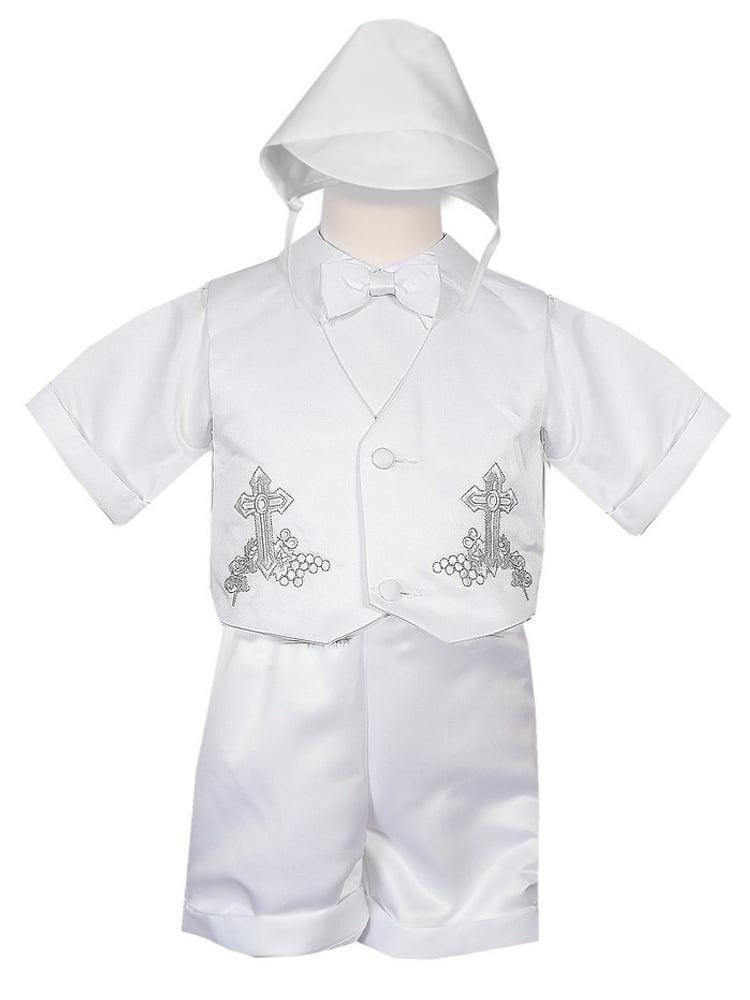 Rafael Collection Little Boys 4 pc Cross Grapevine Vest Hat Baptism Outfit