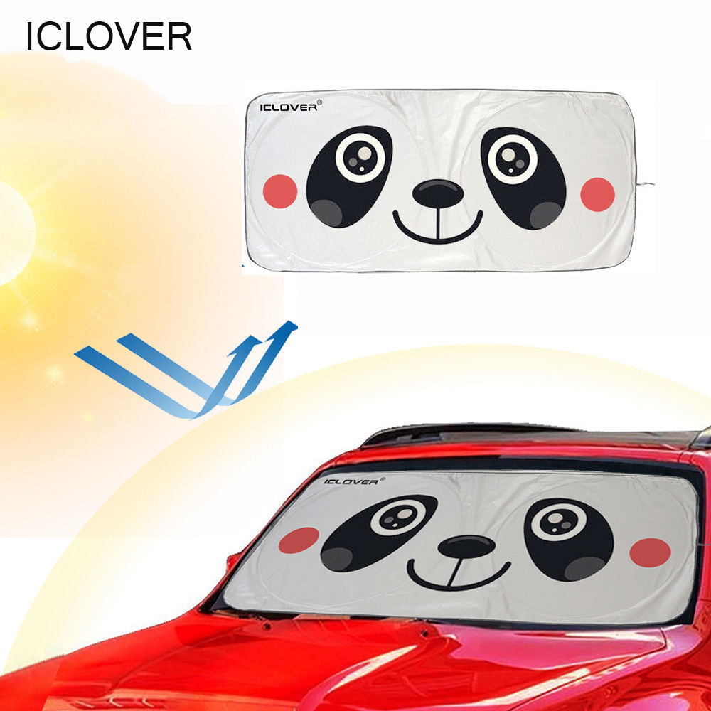 "Car Windshield Sunshade Folding Silvering Sun Visor with Panda Design(59""x33""), iClover Cute Cartoon Design Sun Shade Front Auto Car Windshield - UV Coating for UV Ray Deflector"