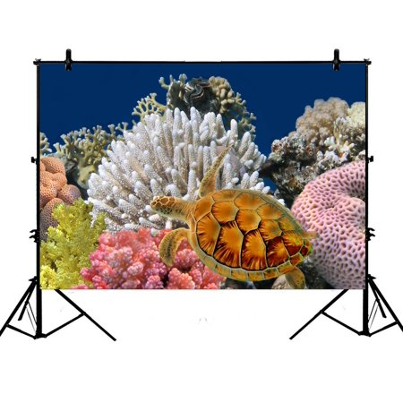 PHFZK 7x5ft Underwater World Backdrops, Sea Turtle and Coral Reef Photography Backdrops Polyester Photo Background Studio Props - Coral Reef Backdrop