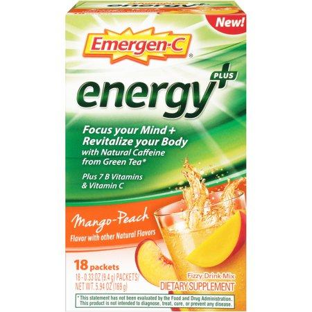 Emergen C Energy Plus Packets  Mango Peach  18 Ct