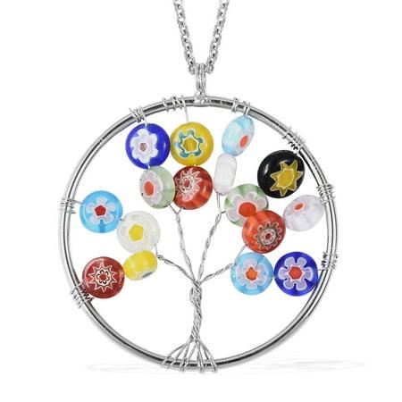 Elegant Stylish Unique Multi Color Murano Millefiori Glass Elegant Statement Pendant Necklace 20