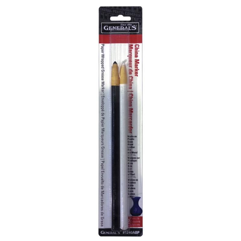 General Pencil 1240ABP China Marker Multi Purpose Grease Pencil, Black/White, 2-Pack Multi-Colored