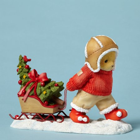(Cherished Teddies 4047376 Bear Pulling Sled with Tree)