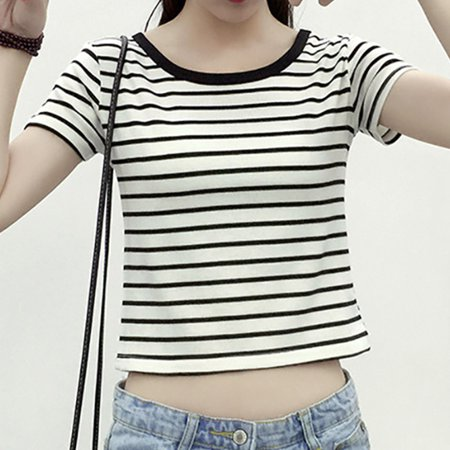 Women's Fashion Striped Bow Shirt With Bare Belly O-neck Short Sleeve Shirt Hot (Fashion Stripe Bow)