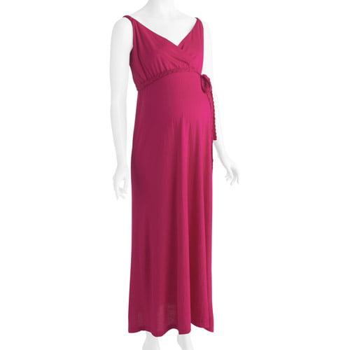 Maternity Surplice Knit Maxi Dress with Braided Belt Trim