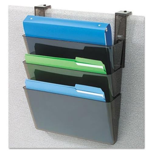 "Deflect-o Letter-size Stackable Wall Docupocket - Wall Mountable - 7"" Height X 13"" Width X 4"" Depth - 3 Pocket[s] - Black (73604)"