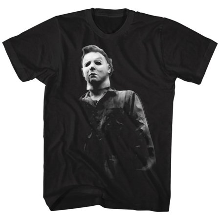 Halloween- Michael Myers Close-Up Apparel T-Shirt - Black - Pin Up Clothing Halloween
