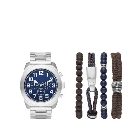 - Men's Silver Watch Set with Bracelets