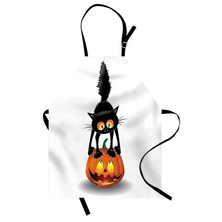 Halloween Apron Black Cat on Pumpkin Drawing Spooky Cartoon Characters Halloween Humor Art, Unisex Kitchen Bib Apron with Adjustable Neck for Cooking Baking Gardening, Orange Black, by Ambesonne - Halloween Baking Accessories