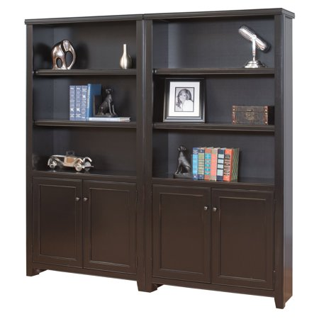 kathy ireland Home by Martin Tribeca Loft Wall Bookcase with Doors - Black