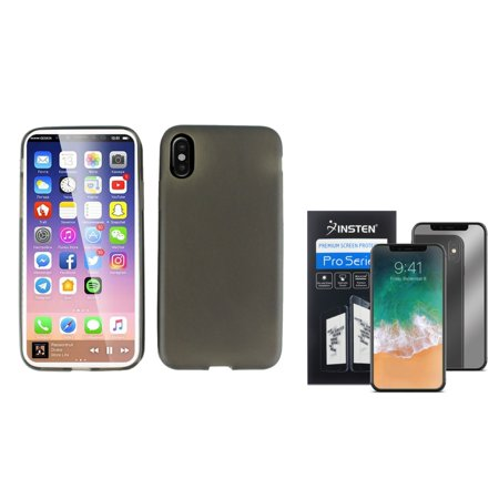 official photos 308dc 4d96f Insten Skin Transparent Rubber Case For Apple iPhone 10 iPhone X 2017 -  Black (Bundle with Mirror Screen Protector)