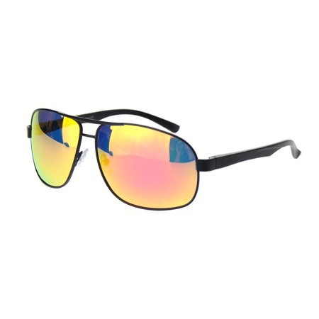 d475b76aad2 SA106 - Polarized Mens Narrow Rectangle Metal Rim Officer Style Pilots Sunglasses  Black Orange Mirror - Walmart.com
