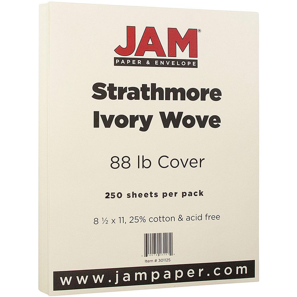 JAM Paper Strathmore Cardstock, 8.5 x 11, 88lb Ivory Wove, 250/pack