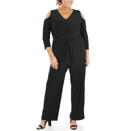 Women's Plus Size 3/4 Sleeve Cold Shoulder Jumpsuit (Plus Size Jumpsuits For Cheap)
