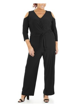 Product Image Women s Plus Size 3 4 Sleeve Cold Shoulder Jumpsuit 9a45e26e2