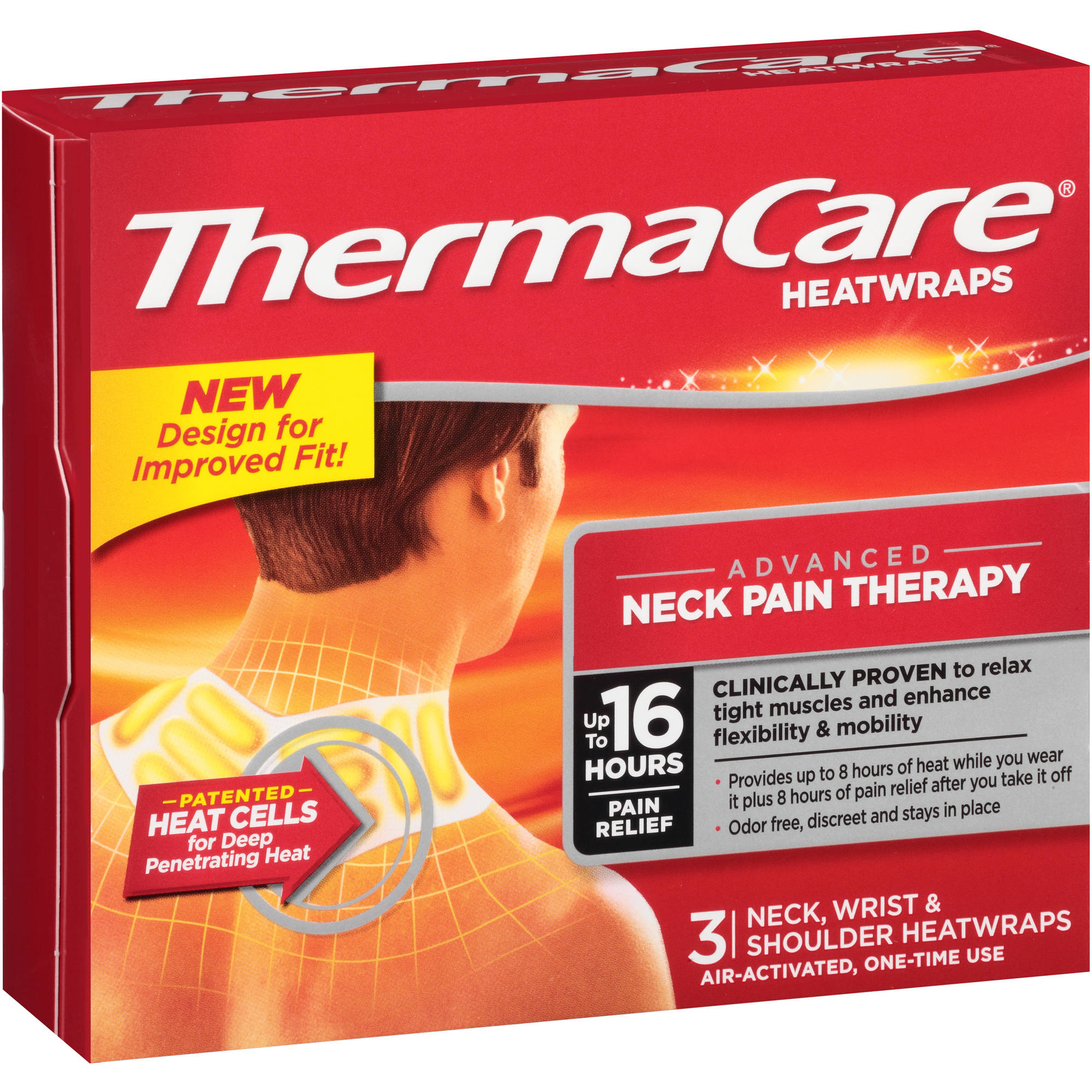 Thermacare Neck Wrist & Shoulder Pain Therapy Heatwraps 3 Ct