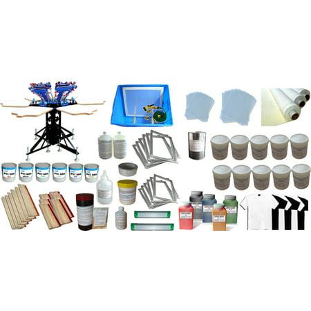 Techtongda 6 Color Screen Printing Kit with Materials 6 Color 6 Station Silk Screen printing Machine #006969](Silk Screen Kit)