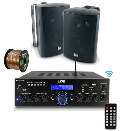 Pyle PDA6BU Amplifier Receiver Stereo, Bluetooth, FM Radio, USB Flash Reader, Aux input LCD Display, 200 Watt With Dual LU47PW Indoor/Outdoor Speakers Bundle With Enrock 50ft 16g Speaker Wire ()