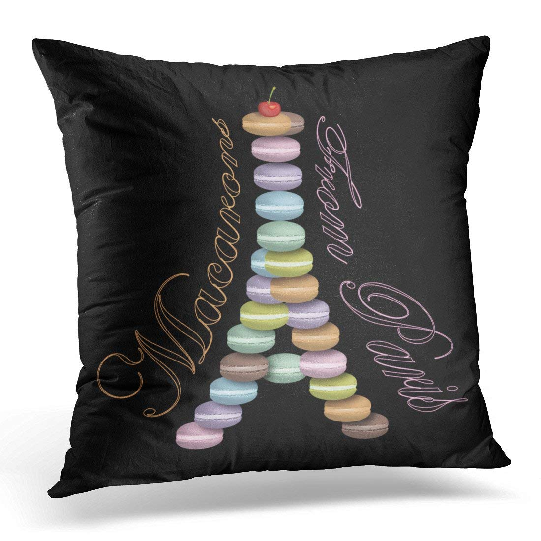 ARTJIA Macaroon Macarons Paris Cake French Eiffel Tower Pastry Pillowcase Cushion Cover 20x20 inches