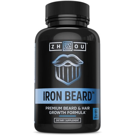 IRON BEARD Beard Growth Vitamin Supplement for Men - Fuller, Thicker, Manlier Hair Growth - 18 Essential Vitamins, Minerals & Proteins - Biotin, Collagen, Saw Palmetto & More - 60