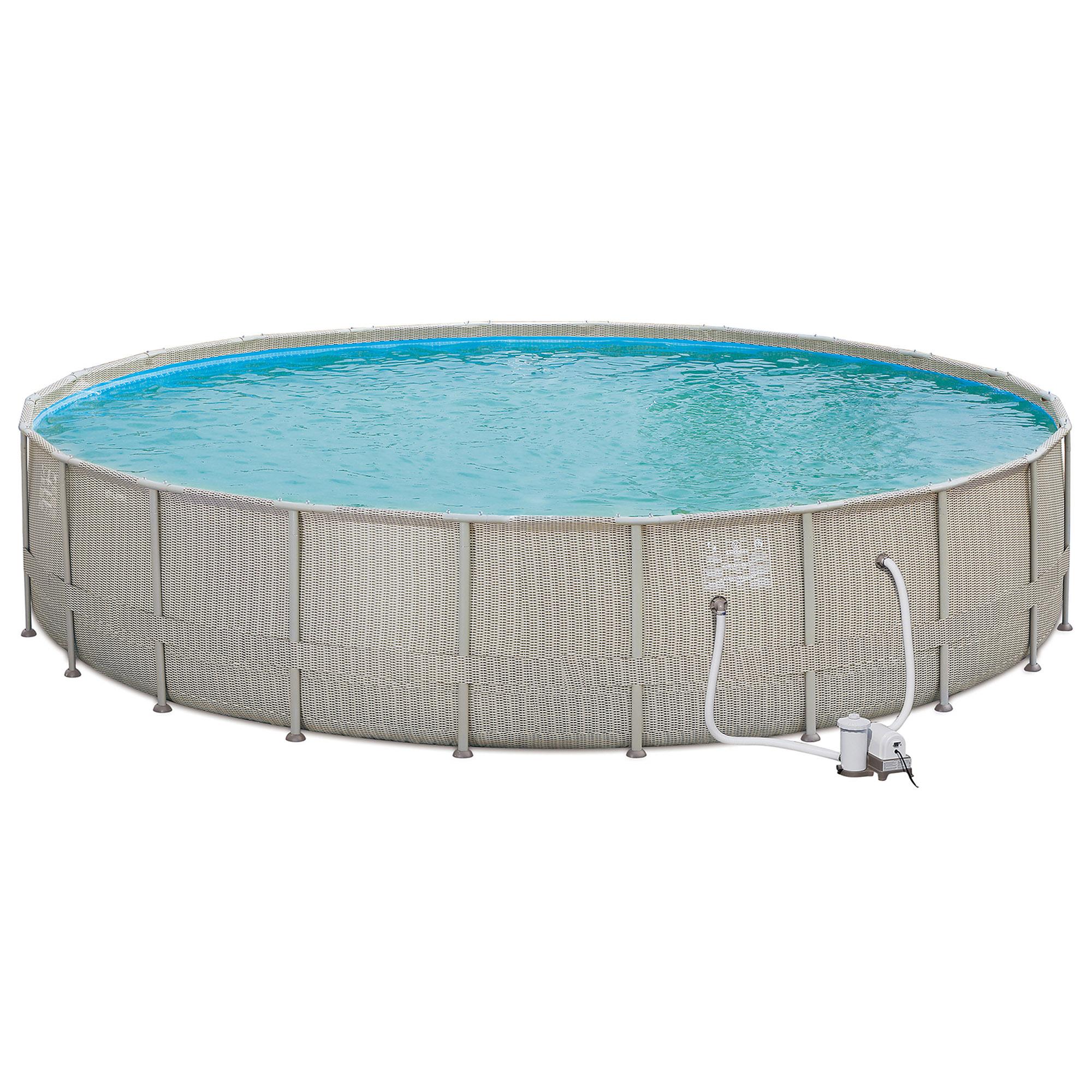 "Summer Waves 22' x 48"" Elite Frame Wicker Print Above Ground Swimming Pool Set"