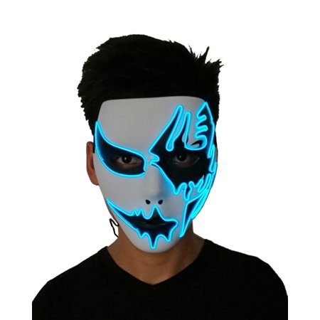 Halloween Mask,Scary Light Up EL Wire Mask Cosplay Costume Mask Full Face For Halloween Masquerade Christmas Party
