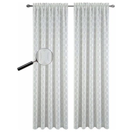 Urbanest Napa Sheer Curtain Panels, Set of 2, Off White, 84