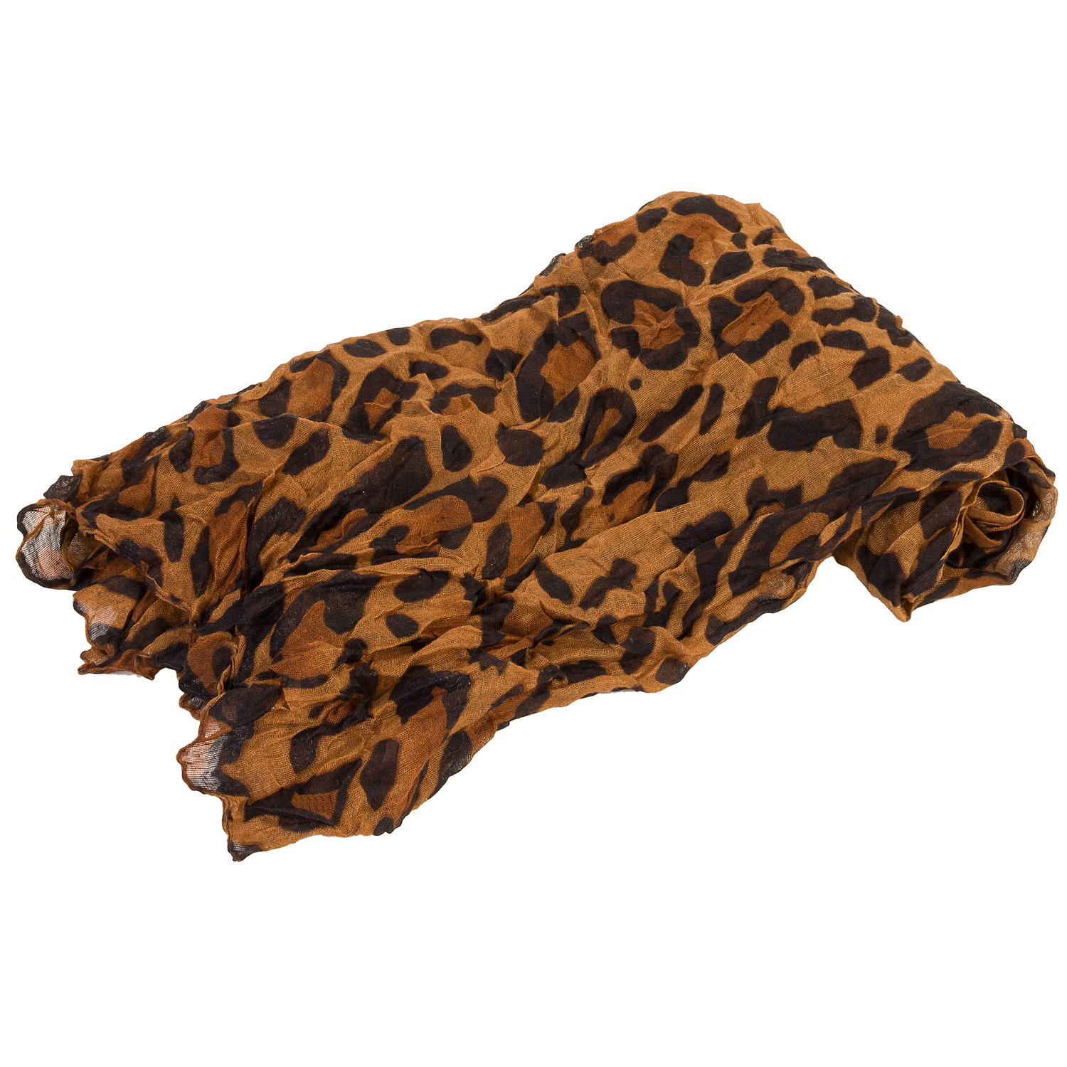 Womens Large Coffee Brown Voile Leopard Lightweight Scarf Shawl Stole Throw Wrap