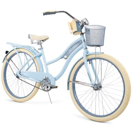 "Huffy 26"" Nel Lusso Womens Cruiser Bike with Basket, Blue"