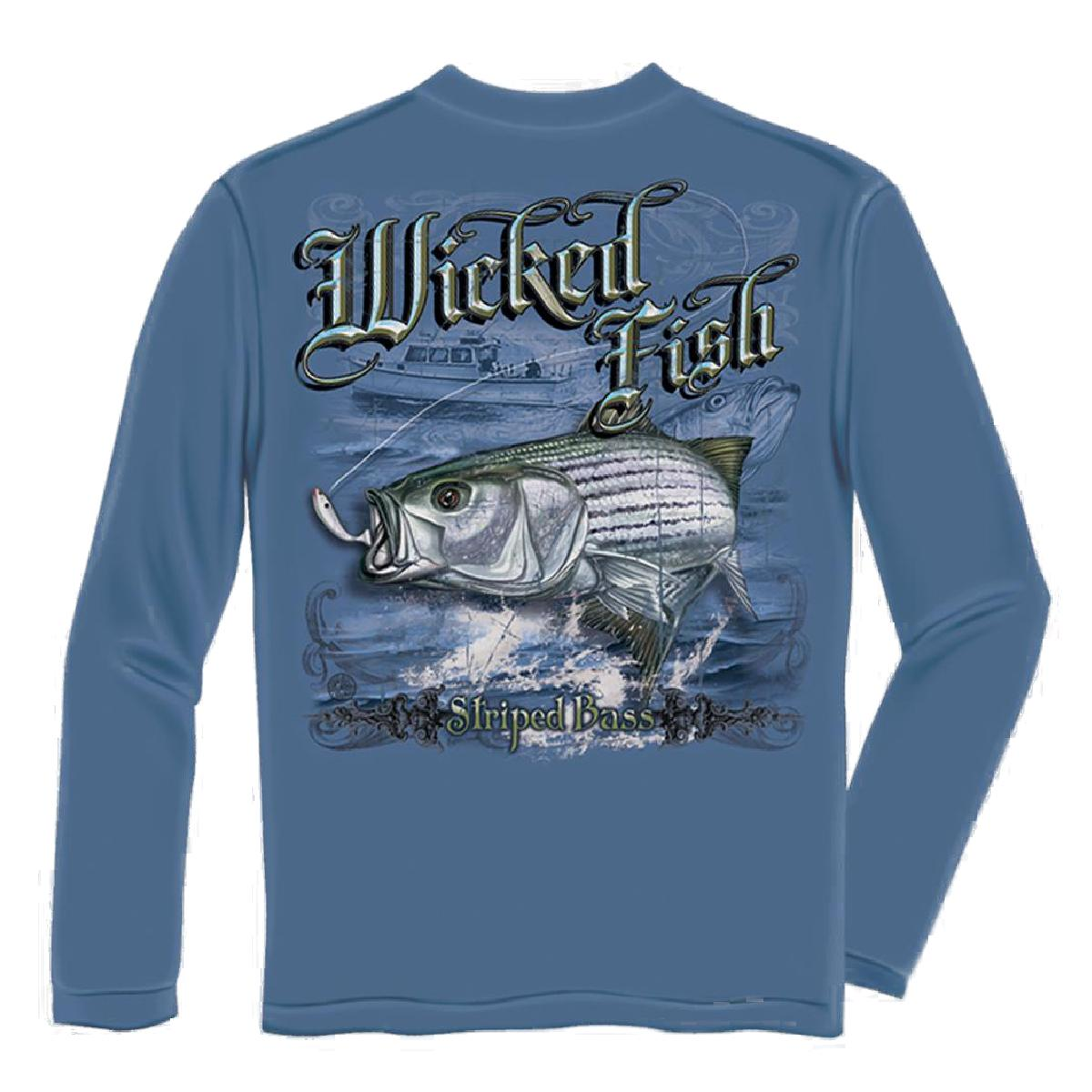 Wicked Fish Striped Bass Long Sleeve Fishing T-shirt by Erazor Bits, Blue
