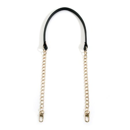30 Genuine Leather Shoulder Bag Strap with Metal Chain, Black (40-8301)