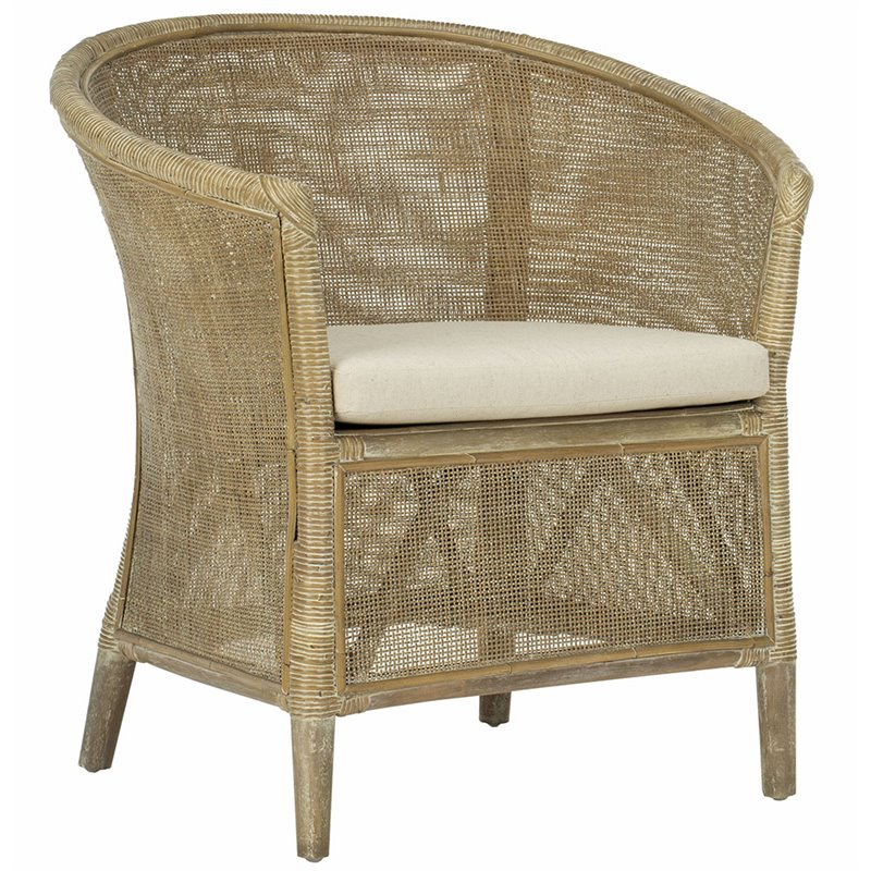 Safavieh Alexana Rattan Accent Chair in White Wash and Off White