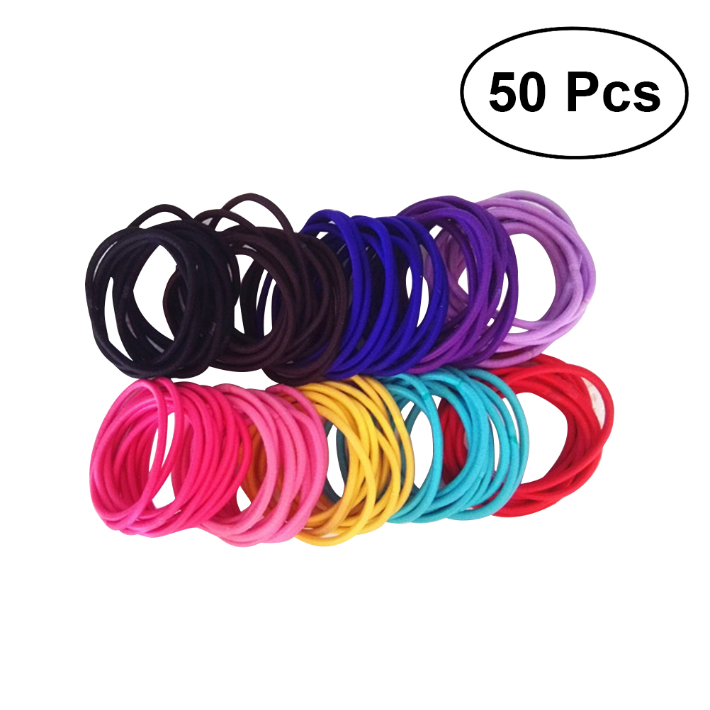50pcs Nylon Rubber Bands High Elasticity Ponytail Holder Hair Ties  Match To Different Styles Hair For Adults Kids (Mixed Colors)