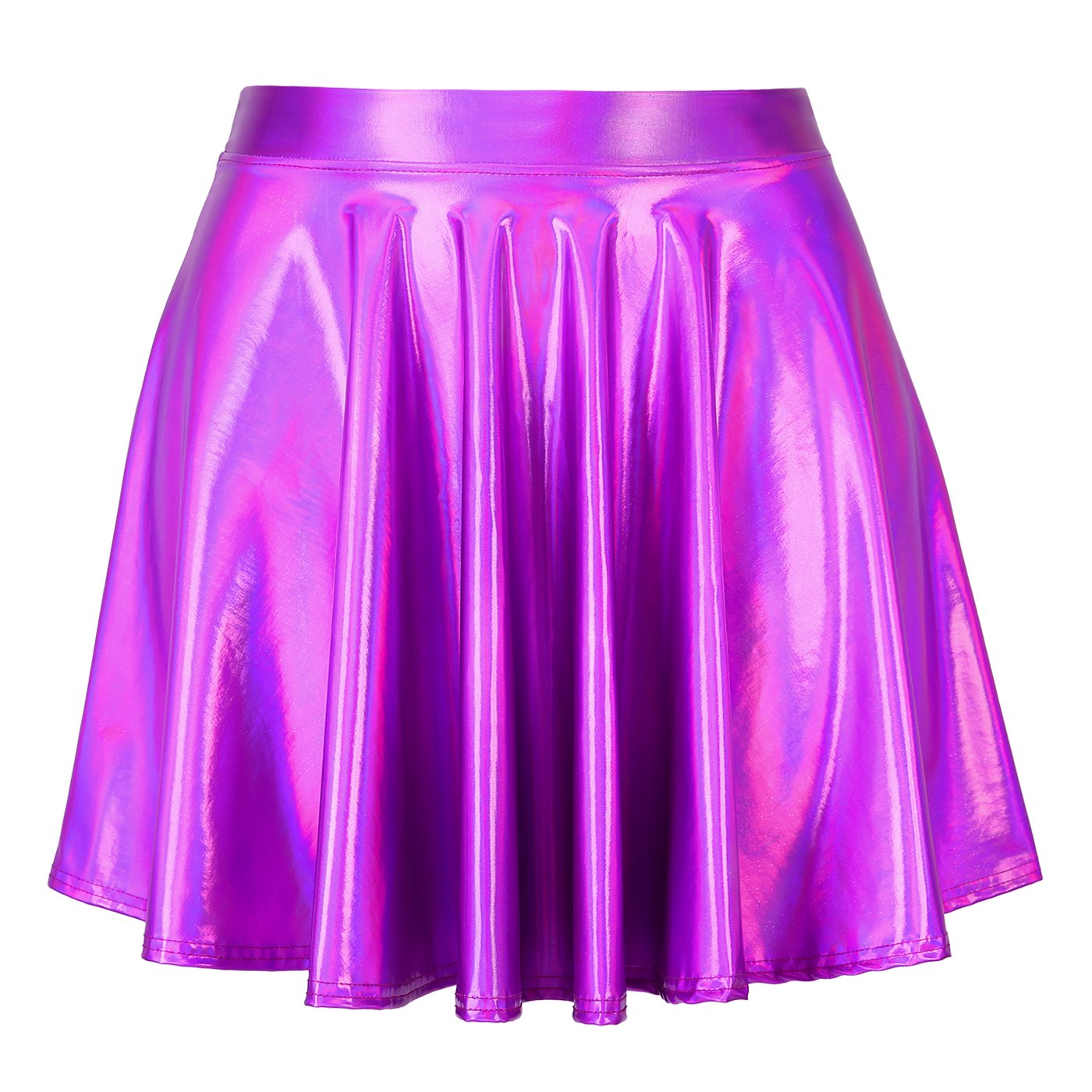 a2acb0d587e HDE Women s Shiny Liquid Metallic Holographic Pleated Flared Mini Skater  Skirt (Fuchsia