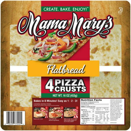 Pizzeria Pizza Dough - (3 Pack) Mama Mary's Flatbread Pizza Crusts, 4 Ct