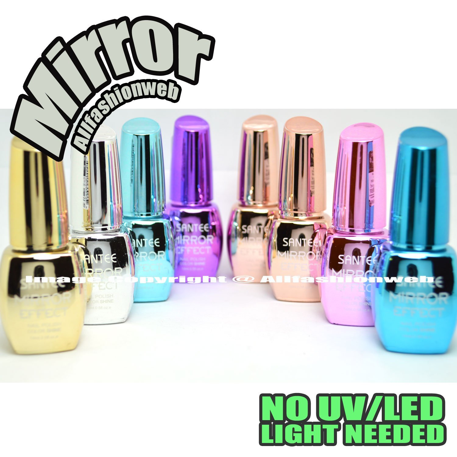 8 Full Color Mirror Effect Chrome Metallic No UV / LED Nail Polish ...