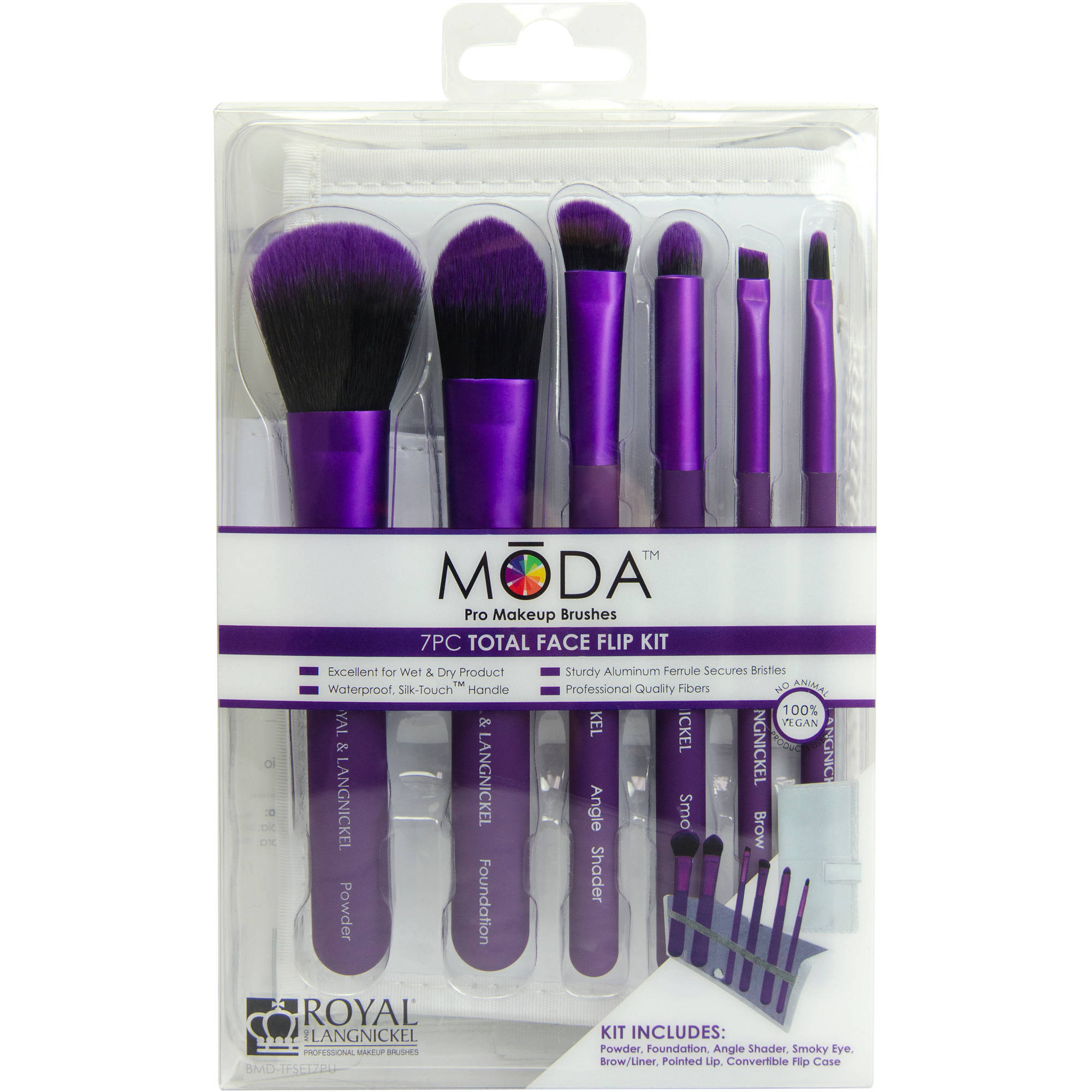 MODA Pro Makeup Brushes Total Face Flip Kit, 7 pc