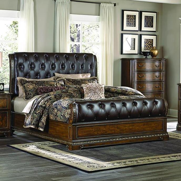 Homelegance Brompton Lane Upholstered Sleigh Bed in Cherry - (Eastern King)