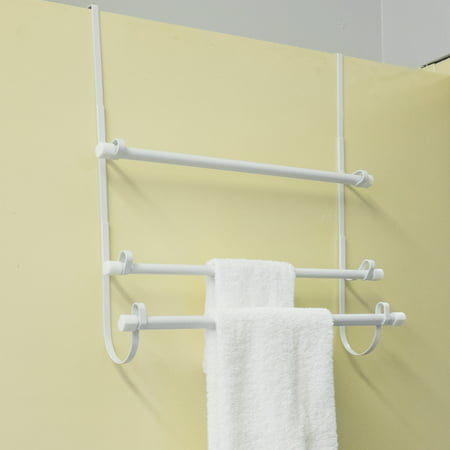 Epoxy Steel Over The Door Bathroom White Towel Hanger Organizer 3 Bar Rack