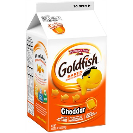 Pepperidge farm goldfish cheddar baked snack crackers 30 for Gold fish crackers
