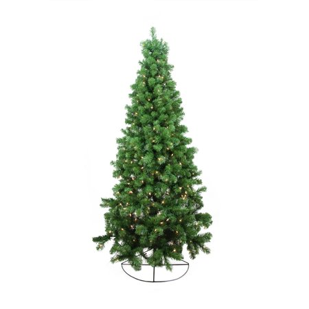 6' Pre-Lit Pine Artificial Wall Christmas Tree - Clear