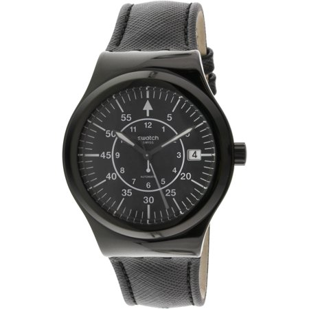 Swatch Men's Sistem Slate YIB400 Black Leather Swiss Quartz