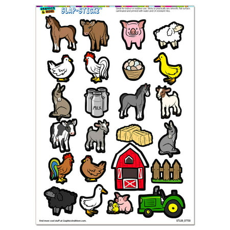 Farm Animals - Pig Chicken Cow Sheep Rooster Duck Barn SLAP-STICKZ(TM) Premium Sticker Sheet