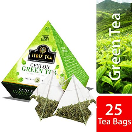 Itrix Ceylon Green Tea Pyramid Style (25 Tea Bags)- Slimming Tea & Weight Loss Tea Best Qulity and High (Best Flavored Tea Brands)