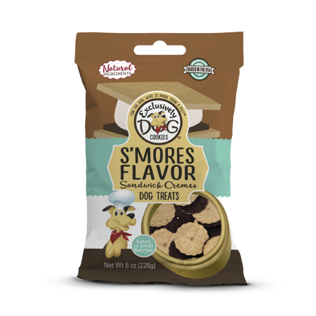 Exclusively Dog Cookies S'mores Flavor Sandwich Cremes Dog Treats, 8 -