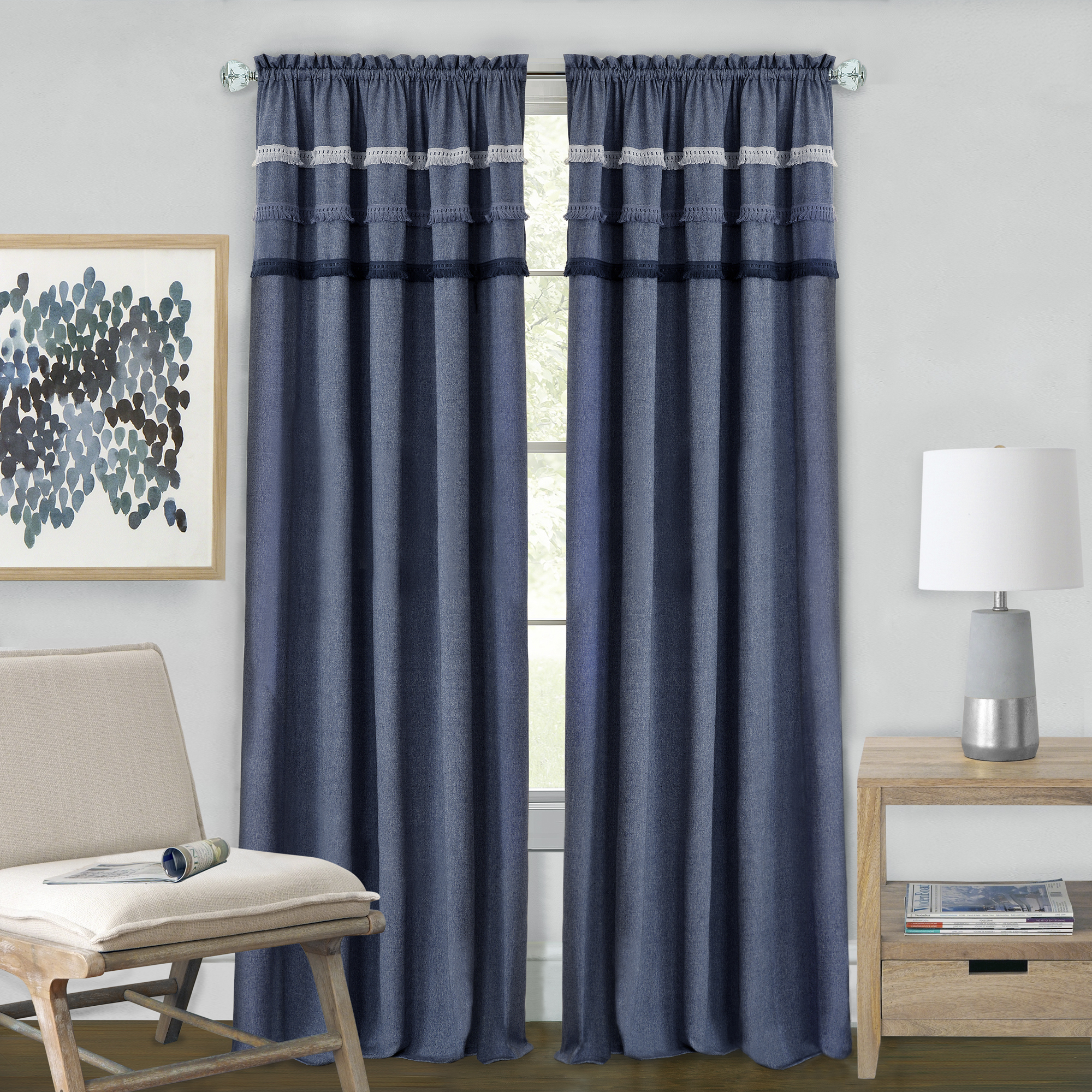 Achim Blue Jean Rod Pocket Window Curtain Panel - Blue
