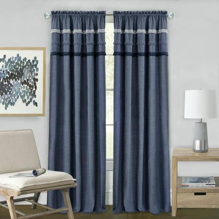 Achim Blue Jean Rod Pocket Window Curtain Panel - - Denim Drapes