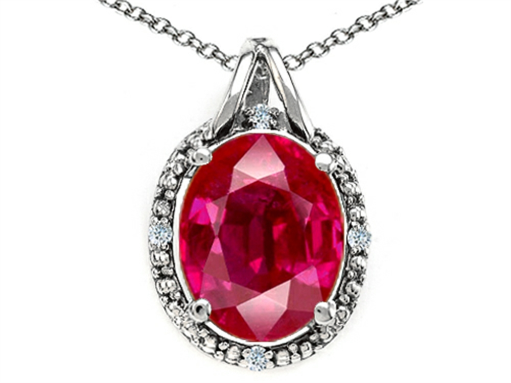 Tommaso Design Oval 10x8mm Created Ruby Pendant Necklace by
