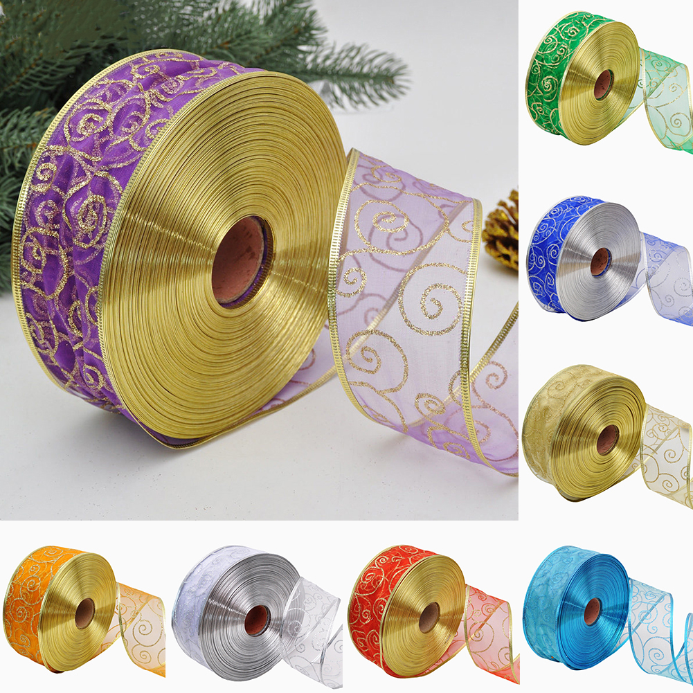 Heepo 200x5cm Glitter Ribbon Christmas Gift Wrapping Bow Packaging Belt Xmas Decor