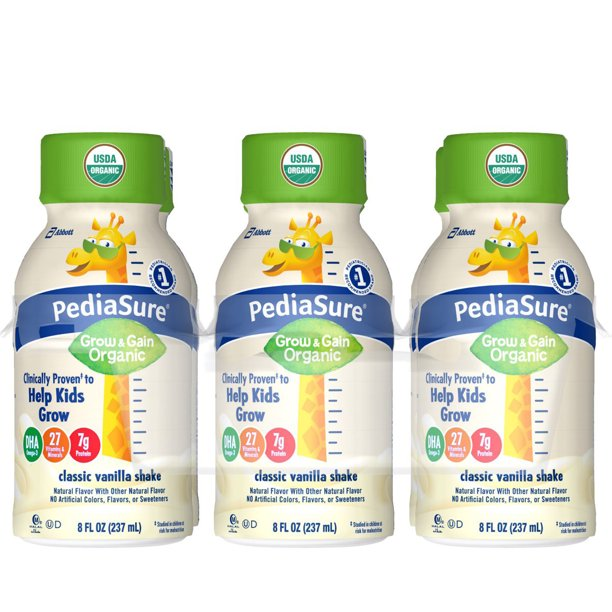 PediaSure Organic Kid's Nutrition Shake, Non-GMO, No Artificial Flavors Or Colors, No Artificial Growth Hormones, 7g Protein, 32mg DHA Omega-3, Vanilla, 8 fl oz, 6 Count